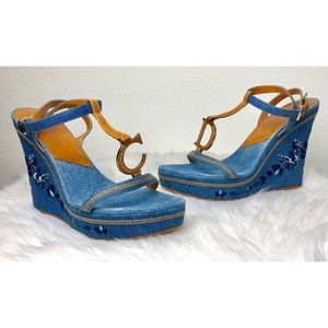 Christian Dior Denim Floral Embroidered Wedges